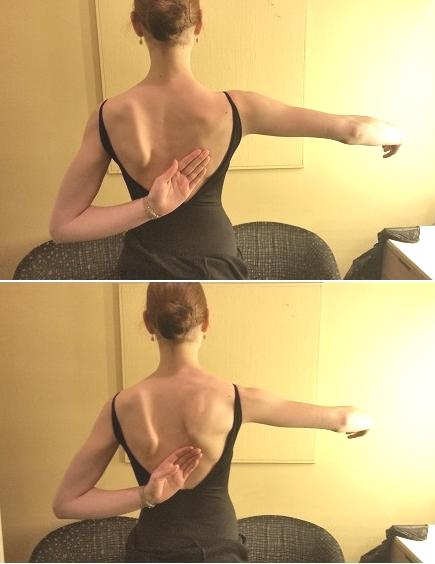 上が正しい図、下はポーデブラをした途端肩甲骨がでっぱってるのが見えますね。