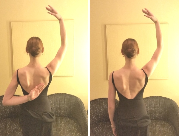 左手で感覚を探しているときはできているのに、手を外したとたんウエストに座り込んでいるのが見える(なので手の高さが違うね)